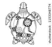 mechanical turtle animal... | Shutterstock .eps vector #1153348774