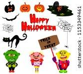 vector set for halloween in... | Shutterstock .eps vector #1153349461