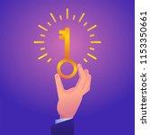 hand holds glowing golden key...   Shutterstock .eps vector #1153350661