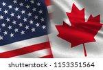 usa and canada realistic half... | Shutterstock . vector #1153351564