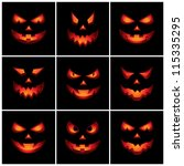 jack o'lantern scary faces | Shutterstock .eps vector #115335295