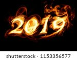 fiery figures 2019 on a black... | Shutterstock . vector #1153356577