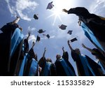 students throwing graduation... | Shutterstock . vector #115335829