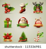 christmas icons objects... | Shutterstock .eps vector #115336981