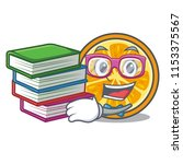 student with book orange mascot ... | Shutterstock .eps vector #1153375567