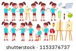 girl schoolgirl kid poses set... | Shutterstock .eps vector #1153376737