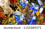 art graphic and watercolor... | Shutterstock . vector #1153385371