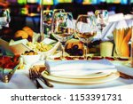 festive wedding table  | Shutterstock . vector #1153391731