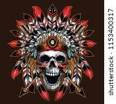 chief skull illustration... | Shutterstock .eps vector #1153400317