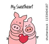 couple of two happy pigs hugs... | Shutterstock .eps vector #1153404187