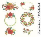 wreath with chrysanthemums in... | Shutterstock .eps vector #1153414744