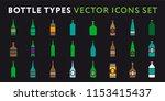 glass bottle types. alcohol...   Shutterstock .eps vector #1153415437