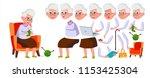 old woman vector. senior person ... | Shutterstock .eps vector #1153425304