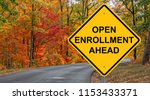 Small photo of Open Enrollment Caution Sign With Autumn Road Background