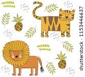 safari cartoon pattern. vector...   Shutterstock .eps vector #1153446637
