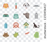 set of 16 transparent icons... | Shutterstock .eps vector #1153456417