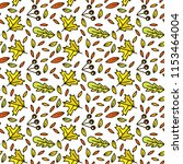 autumn pattern with doodle... | Shutterstock .eps vector #1153464004