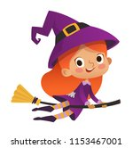 halloween redhead flying little ... | Shutterstock .eps vector #1153467001