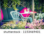 beautiful  summer garden with... | Shutterstock . vector #1153469401