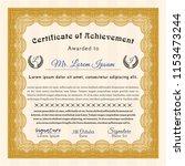 orange certificate of... | Shutterstock .eps vector #1153473244