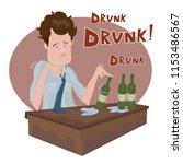 drunk businessman sitting alone ...   Shutterstock .eps vector #1153486567
