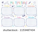 school timetable template on... | Shutterstock .eps vector #1153487434