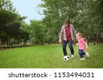 happy father with daughter... | Shutterstock . vector #1153494031