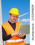 technician engineer in wind... | Shutterstock . vector #115349839