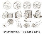 a set of icons of coins on the... | Shutterstock .eps vector #1153511341