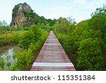 boardwalks mangrove forest | Shutterstock . vector #115351384