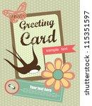 cute swallow. card design.... | Shutterstock .eps vector #115351597