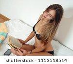 sexy girl in black lingerie... | Shutterstock . vector #1153518514