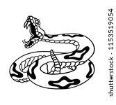 Rattlesnake Hand Drawn Vector...