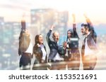 five people exult happiness... | Shutterstock . vector #1153521691
