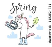 hand drawn cute spring unicorn... | Shutterstock .eps vector #1153524781