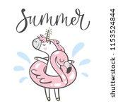 hand drawn cute summer unicorn...   Shutterstock .eps vector #1153524844