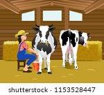 vector illustration. milking of ... | Shutterstock .eps vector #1153528447