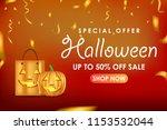 halloween sale banner design | Shutterstock .eps vector #1153532044