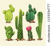 watercolor cactus set | Shutterstock .eps vector #1153534777