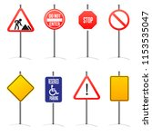 different road signs icons set. | Shutterstock .eps vector #1153535047