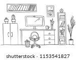 designer's desk at home office  ... | Shutterstock .eps vector #1153541827