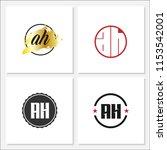 initial letter ah logo template ... | Shutterstock .eps vector #1153542001