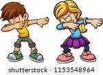 dabbing cartoon boy and girl.... | Shutterstock .eps vector #1153548964