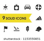 sunny icons set with grill  sea ...