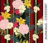 elegance pattern with flowers... | Shutterstock .eps vector #1153553587
