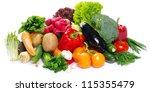 fresh vegetables on the white... | Shutterstock . vector #115355479