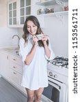 woman drinking morning coffee   ... | Shutterstock . vector #1153561711