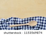 wood spoon with blue cell...   Shutterstock . vector #1153569874