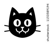 vector cartoon black cat face... | Shutterstock .eps vector #1153589194