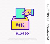 ballot box  hand puts envelope... | Shutterstock .eps vector #1153636111